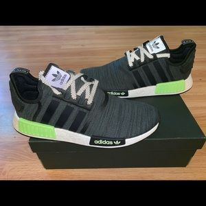 New Adidas Nmd Black Solar Slime Mens Size 11.5-13
